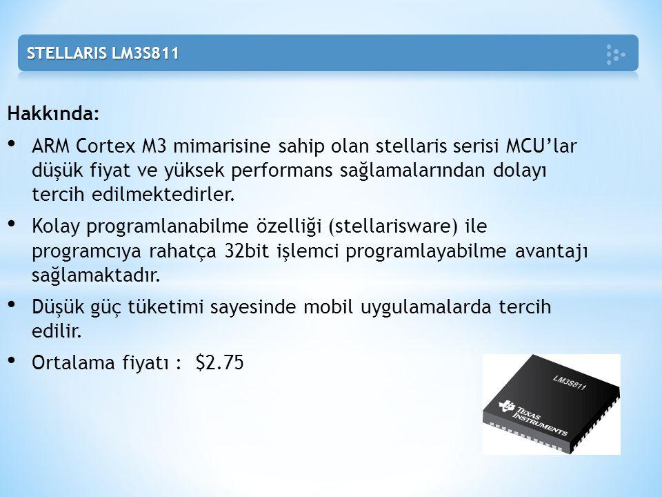 Hakkında: • ARM Cortex M3 mimarisine sahip olan stellaris serisi MCU'lar düşük fiyat ve yüksek performans sağlamalarından dolayı tercih edilmektedirle