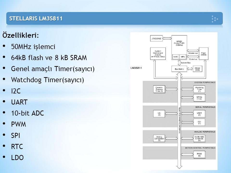 Özellikleri: • 50MHz işlemci • 64kB flash ve 8 kB SRAM • Genel amaçlı Timer(sayıcı) • Watchdog Timer(sayıcı) • I2C • UART • 10-bit ADC • PWM • SPI • R