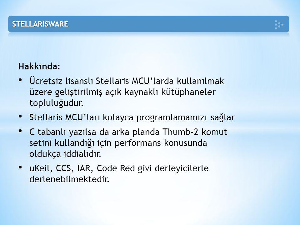 Hakkında: • Ücretsiz lisanslı Stellaris MCU'larda kullanılmak üzere geliştirilmiş açık kaynaklı kütüphaneler topluluğudur. • Stellaris MCU'ları kolayc