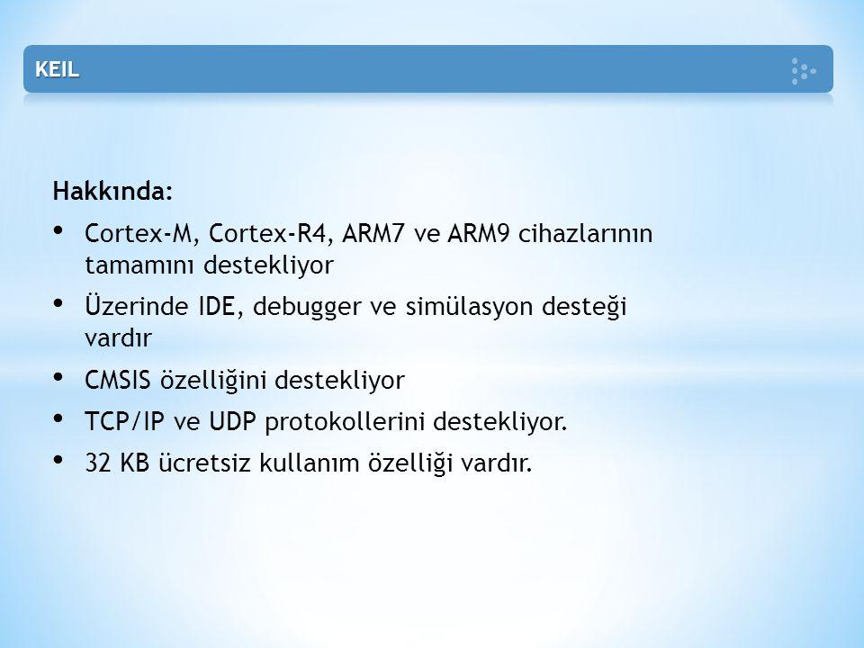 Hakkında: • Cortex-M, Cortex-R4, ARM7 ve ARM9 cihazlarının tamamını destekliyor • Üzerinde IDE, debugger ve simülasyon desteği vardır • CMSIS özelliği