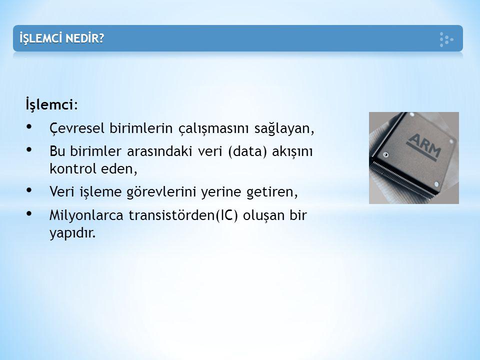 Temel Kavramlar: • Register(Kaydedici) • Instruction(Komut) • Decoder(Çözücü) 10000100 => 1 000 0100 • Accumulator(Toplayıcı) • Memory(Hafıza) İşlemciye Ait Birimler: • Komut Kaydedici(Instruction Register) • Komut Çözücü (Instruction Decoder) • ALU(Arithmetic Logic Unit)