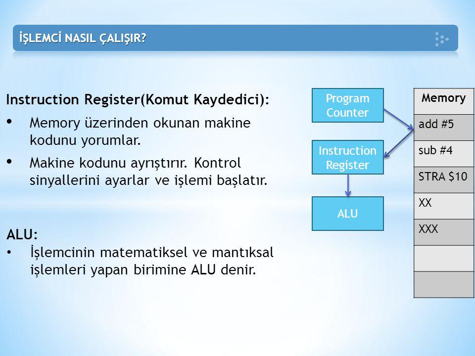 Instruction Register(Komut Kaydedici): • Memory üzerinden okunan makine kodunu yorumlar. • Makine kodunu ayrıştırır. Kontrol sinyallerini ayarlar ve i