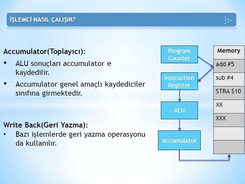 Accumulator(Toplayıcı): • ALU sonuçları accumulator e kaydedilir. • Accumulator genel amaçlı kaydediciler sınıfına girmektedir. Memory add #5 sub #4 S