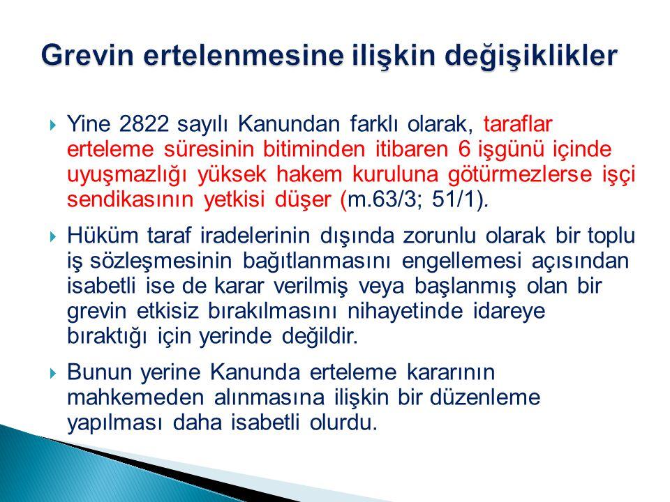  Yine 2822 sayılı Kanundan farklı olarak, taraflar erteleme süresinin bitiminden itibaren 6 işgünü içinde uyuşmazlığı yüksek hakem kuruluna götürmezl