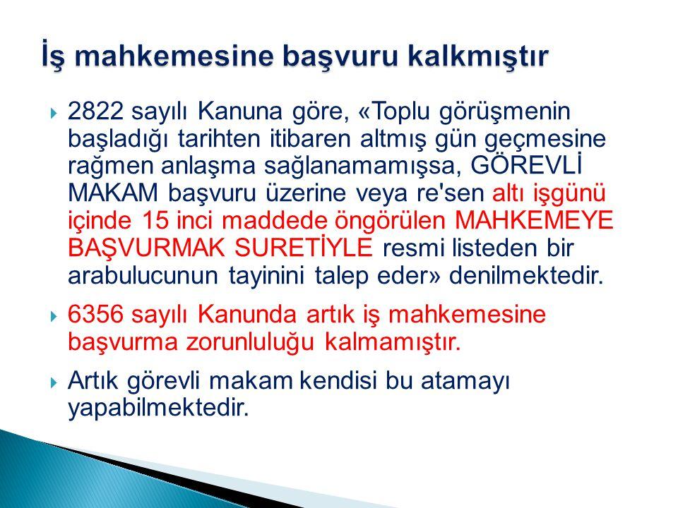  Sona eren grevin ilanına ilişkin olarak da Kanunda 2822 sayılı Kanundan farklı bir düzenleme yapılmış ve sona eren grevin görevli makamca işyerinde ilan edileceği belirtilmiştir (m.75/2).
