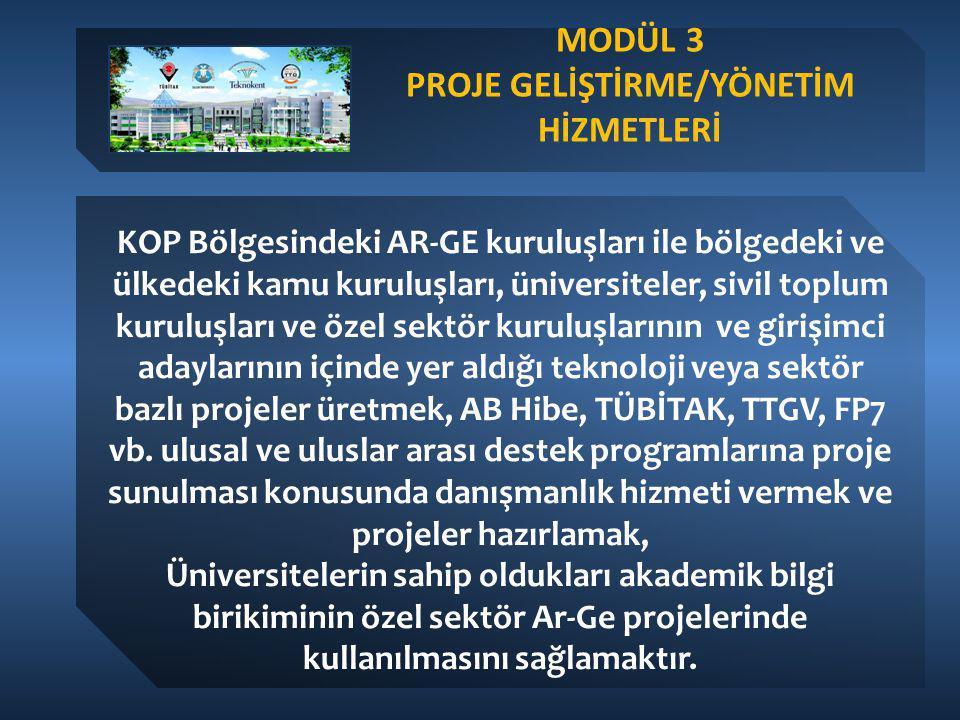 MODÜL 3 PROJE GELİŞTİRME/YÖNETİM HİZMETLERİ KOP Bölgesindeki AR-GE kuruluşları ile bölgedeki ve ülkedeki kamu kuruluşları, üniversiteler, sivil toplum