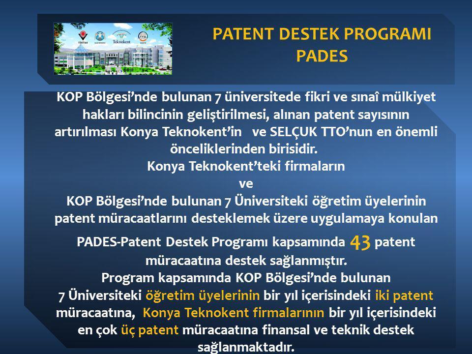 KOP Bölgesi'nde bulunan 7 üniversitede fikri ve sınaî mülkiyet hakları bilincinin geliştirilmesi, alınan patent sayısının artırılması Konya Teknokent'