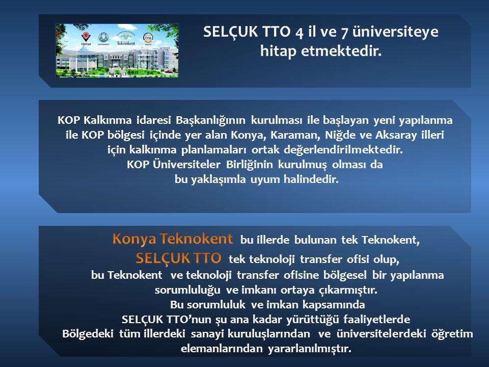 SELÇUK TTO 4 il ve 7 üniversiteye hitap etmektedir. KOP Kalkınma idaresi Başkanlığının kurulması ile başlayan yeni yapılanma ile KOP bölgesi içinde ye