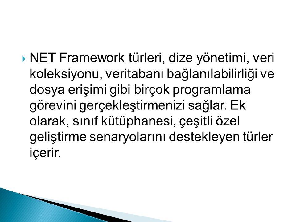  NET Framework türleri, dize yönetimi, veri koleksiyonu, veritabanı bağlanılabilirliği ve dosya erişimi gibi birçok programlama görevini gerçekleştir