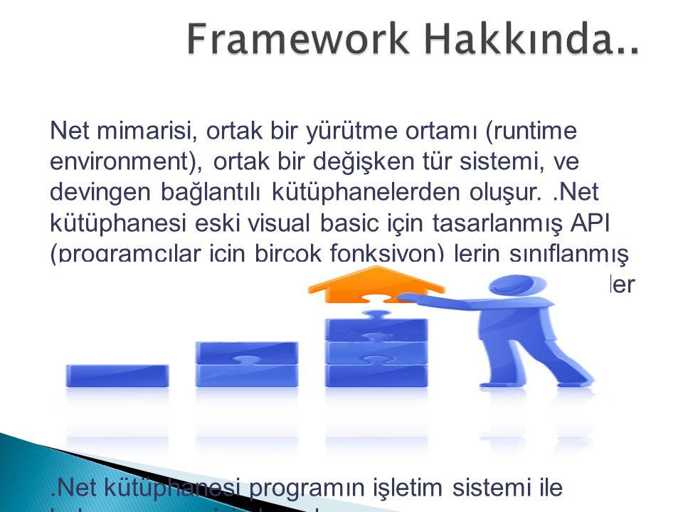 Net mimarisi, ortak bir yürütme ortamı (runtime environment), ortak bir değişken tür sistemi, ve devingen bağlantılı kütüphanelerden oluşur..Net kütüp