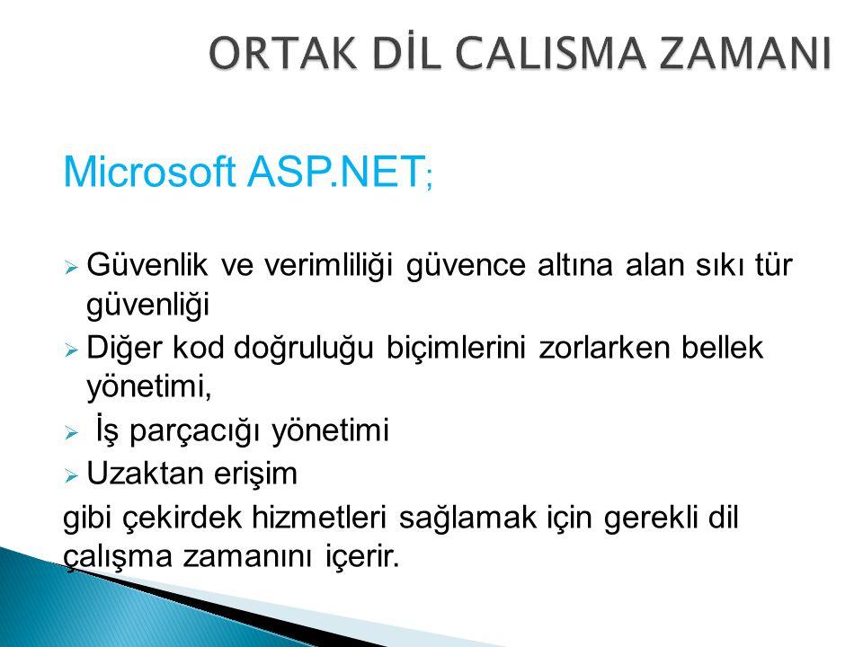 Microsoft ASP.NET ;  Güvenlik ve verimliliği güvence altına alan sıkı tür güvenliği  Diğer kod doğruluğu biçimlerini zorlarken bellek yönetimi,  İş