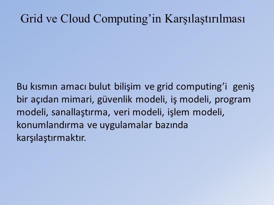 Grid ve Cloud Computing'in Karşılaştırılması Bu kısmın amacı bulut bilişim ve grid computing'i geniş bir açıdan mimari, güvenlik modeli, iş modeli, program modeli, sanallaştırma, veri modeli, işlem modeli, konumlandırma ve uygulamalar bazında karşılaştırmaktır.
