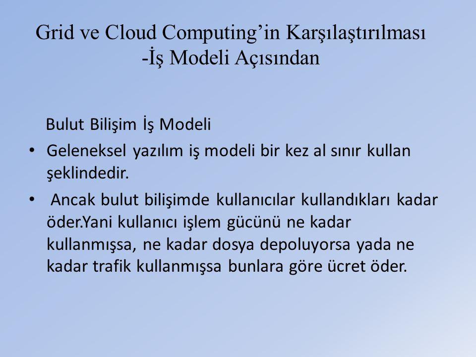 Grid ve Cloud Computing'in Karşılaştırılması -İş Modeli Açısından Bulut Bilişim İş Modeli • Geleneksel yazılım iş modeli bir kez al sınır kullan şeklindedir.