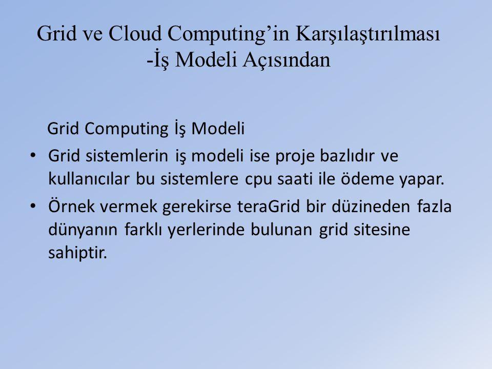 Grid ve Cloud Computing'in Karşılaştırılması -İş Modeli Açısından Grid Computing İş Modeli • Grid sistemlerin iş modeli ise proje bazlıdır ve kullanıcılar bu sistemlere cpu saati ile ödeme yapar.