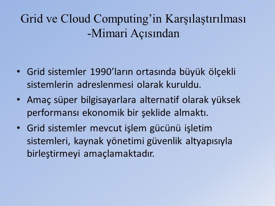 Grid ve Cloud Computing'in Karşılaştırılması -Mimari Açısından • Grid sistemler 1990'ların ortasında büyük ölçekli sistemlerin adreslenmesi olarak kuruldu.