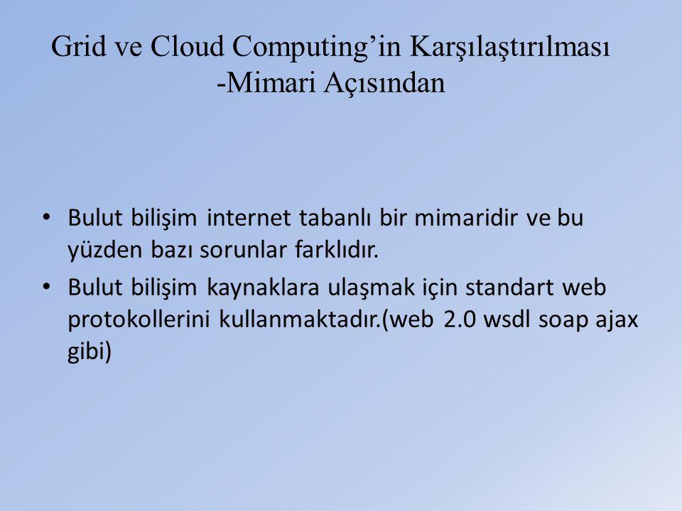 Grid ve Cloud Computing'in Karşılaştırılması -Mimari Açısından • Bulut bilişim internet tabanlı bir mimaridir ve bu yüzden bazı sorunlar farklıdır.