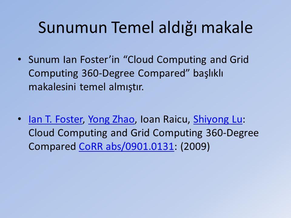 Sunumun Temel aldığı makale • Sunum Ian Foster'in Cloud Computing and Grid Computing 360-Degree Compared başlıklı makalesini temel almıştır.