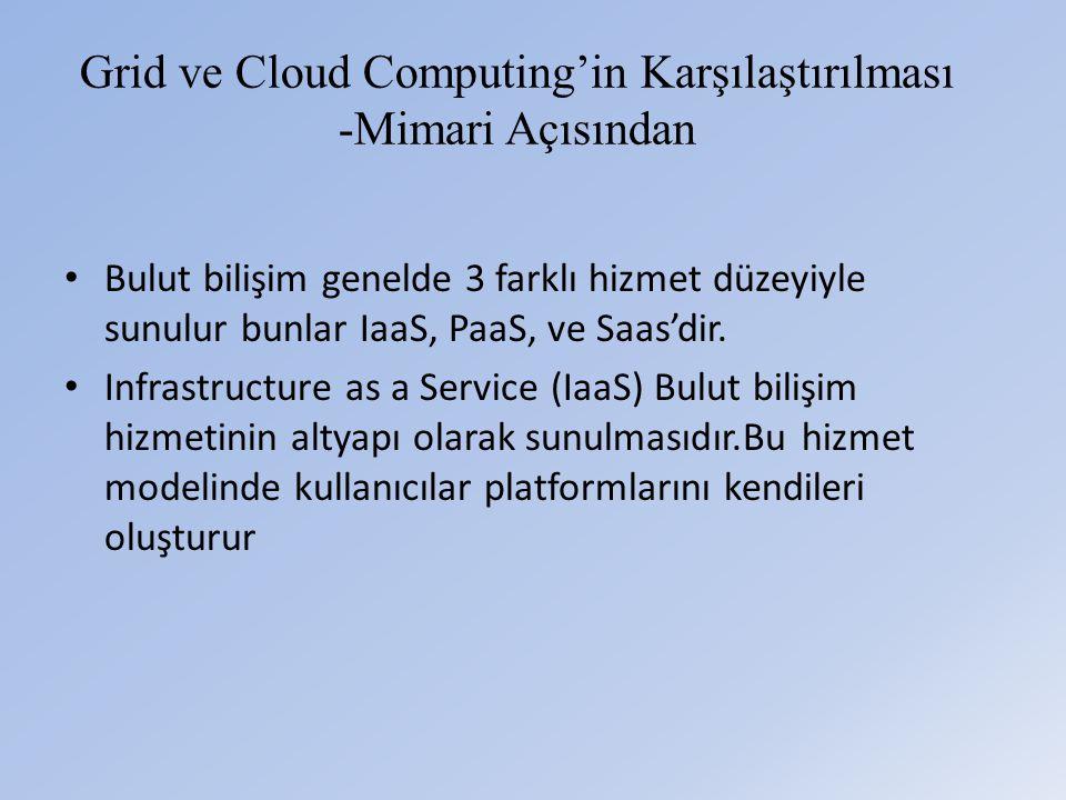 Grid ve Cloud Computing'in Karşılaştırılması -Mimari Açısından • Bulut bilişim genelde 3 farklı hizmet düzeyiyle sunulur bunlar IaaS, PaaS, ve Saas'dir.
