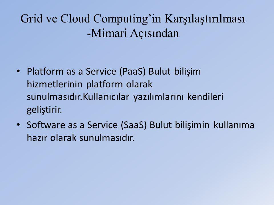 Grid ve Cloud Computing'in Karşılaştırılması -Mimari Açısından • Platform as a Service (PaaS) Bulut bilişim hizmetlerinin platform olarak sunulmasıdır.Kullanıcılar yazılımlarını kendileri geliştirir.