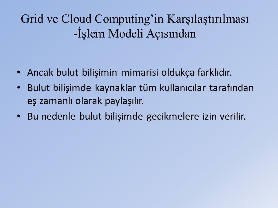 Grid ve Cloud Computing'in Karşılaştırılması -İşlem Modeli Açısından • Ancak bulut bilişimin mimarisi oldukça farklıdır.