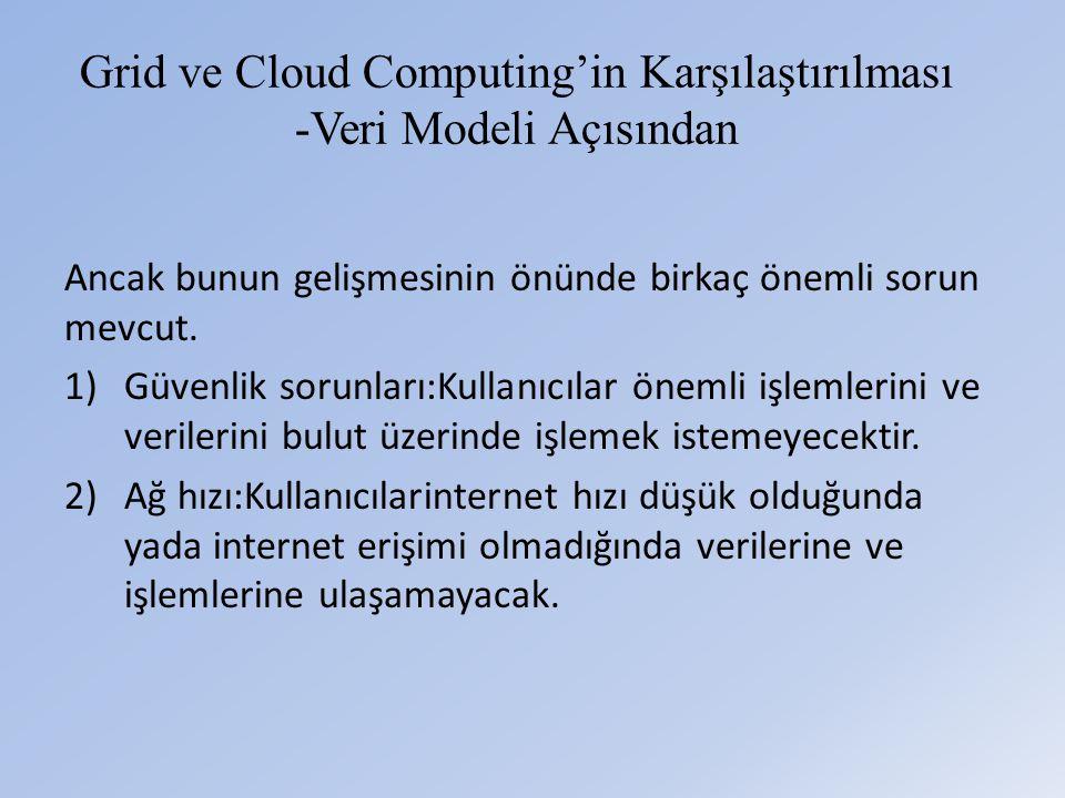 Grid ve Cloud Computing'in Karşılaştırılması -Veri Modeli Açısından Ancak bunun gelişmesinin önünde birkaç önemli sorun mevcut.
