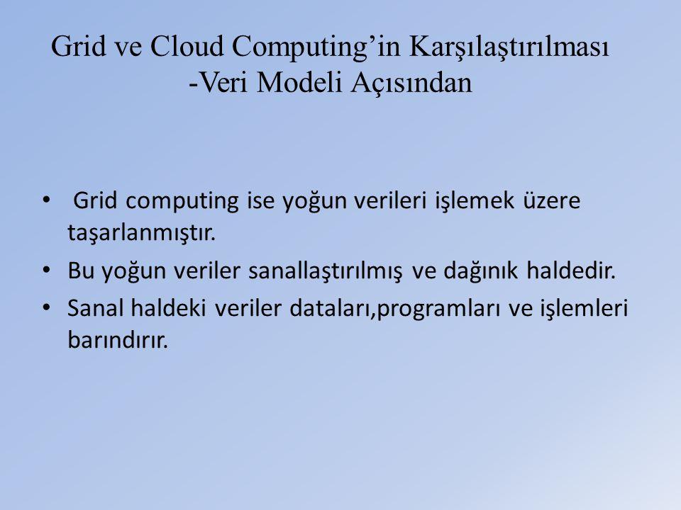 Grid ve Cloud Computing'in Karşılaştırılması -Veri Modeli Açısından • Grid computing ise yoğun verileri işlemek üzere taşarlanmıştır.