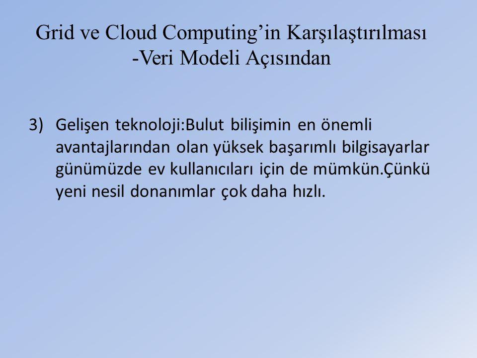 Grid ve Cloud Computing'in Karşılaştırılması -Veri Modeli Açısından 3)Gelişen teknoloji:Bulut bilişimin en önemli avantajlarından olan yüksek başarımlı bilgisayarlar günümüzde ev kullanıcıları için de mümkün.Çünkü yeni nesil donanımlar çok daha hızlı.