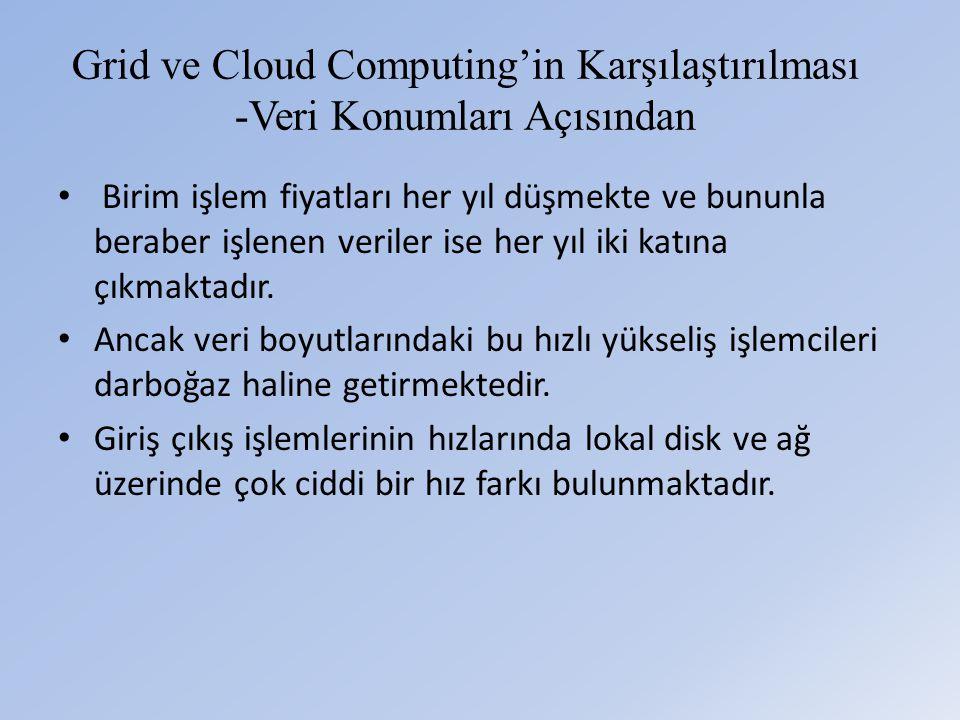 Grid ve Cloud Computing'in Karşılaştırılması -Veri Konumları Açısından • Birim işlem fiyatları her yıl düşmekte ve bununla beraber işlenen veriler ise her yıl iki katına çıkmaktadır.