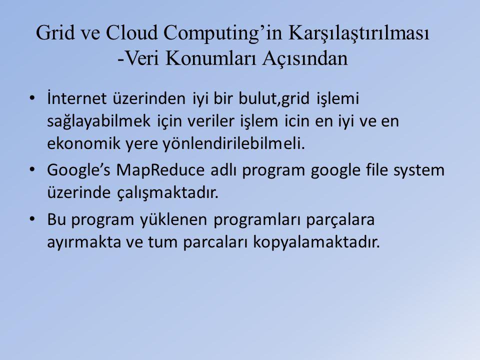 Grid ve Cloud Computing'in Karşılaştırılması -Veri Konumları Açısından • İnternet üzerinden iyi bir bulut,grid işlemi sağlayabilmek için veriler işlem icin en iyi ve en ekonomik yere yönlendirilebilmeli.