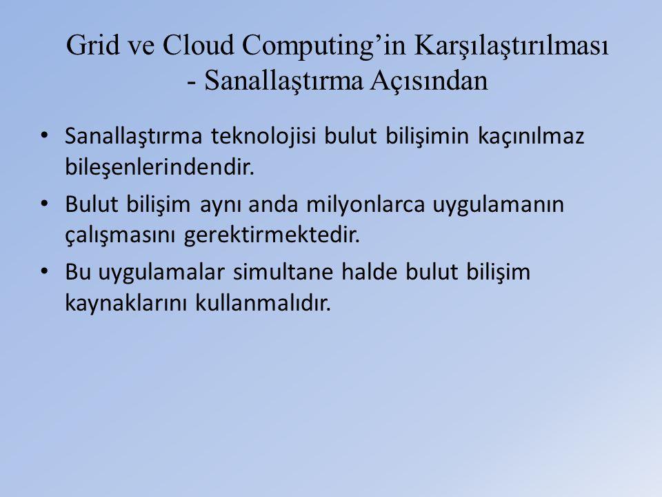 Grid ve Cloud Computing'in Karşılaştırılması - Sanallaştırma Açısından • Sanallaştırma teknolojisi bulut bilişimin kaçınılmaz bileşenlerindendir.