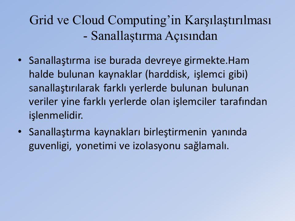Grid ve Cloud Computing'in Karşılaştırılması - Sanallaştırma Açısından • Sanallaştırma ise burada devreye girmekte.Ham halde bulunan kaynaklar (harddisk, işlemci gibi) sanallaştırılarak farklı yerlerde bulunan bulunan veriler yine farklı yerlerde olan işlemciler tarafından işlenmelidir.