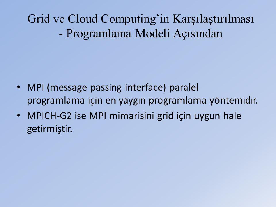 Grid ve Cloud Computing'in Karşılaştırılması - Programlama Modeli Açısından • MPI (message passing interface) paralel programlama için en yaygın programlama yöntemidir.