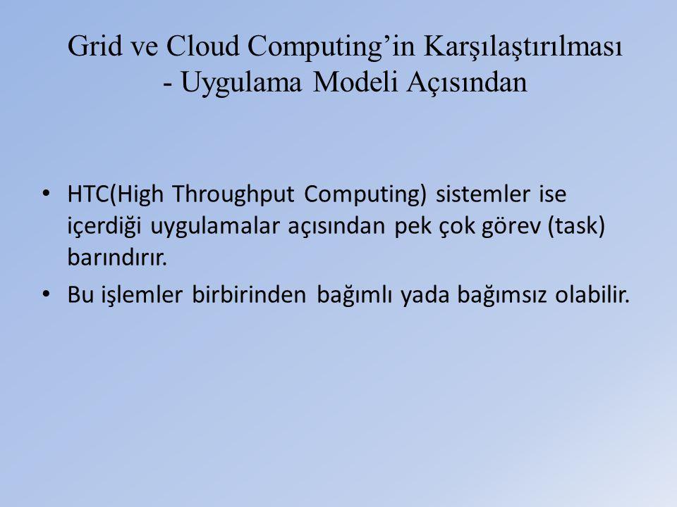 Grid ve Cloud Computing'in Karşılaştırılması - Uygulama Modeli Açısından • HTC(High Throughput Computing) sistemler ise içerdiği uygulamalar açısından pek çok görev (task) barındırır.