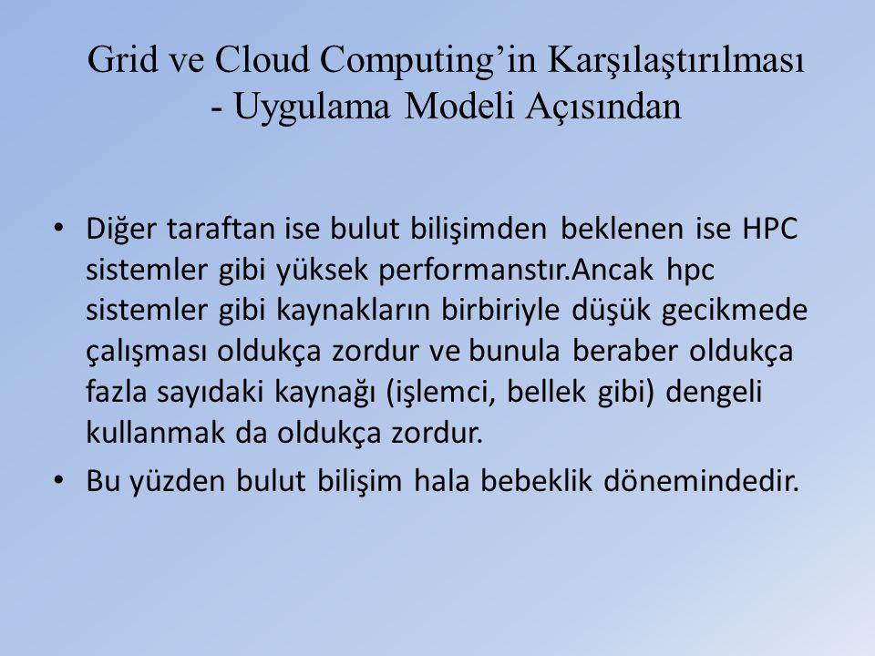 Grid ve Cloud Computing'in Karşılaştırılması - Uygulama Modeli Açısından • Diğer taraftan ise bulut bilişimden beklenen ise HPC sistemler gibi yüksek performanstır.Ancak hpc sistemler gibi kaynakların birbiriyle düşük gecikmede çalışması oldukça zordur ve bunula beraber oldukça fazla sayıdaki kaynağı (işlemci, bellek gibi) dengeli kullanmak da oldukça zordur.