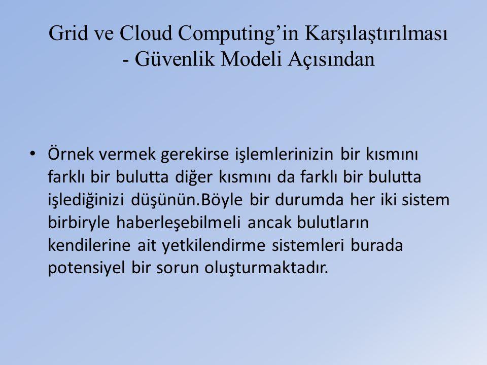 Grid ve Cloud Computing'in Karşılaştırılması - Güvenlik Modeli Açısından • Örnek vermek gerekirse işlemlerinizin bir kısmını farklı bir bulutta diğer kısmını da farklı bir bulutta işlediğinizi düşünün.Böyle bir durumda her iki sistem birbiryle haberleşebilmeli ancak bulutların kendilerine ait yetkilendirme sistemleri burada potensiyel bir sorun oluşturmaktadır.