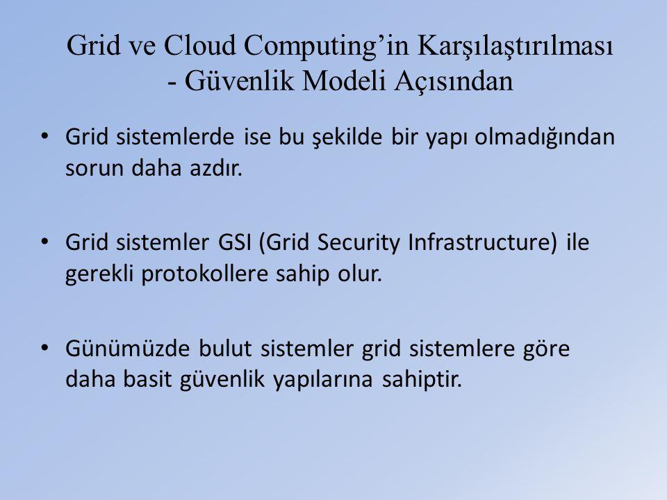 Grid ve Cloud Computing'in Karşılaştırılması - Güvenlik Modeli Açısından • Grid sistemlerde ise bu şekilde bir yapı olmadığından sorun daha azdır.