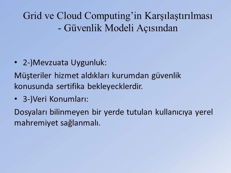 Grid ve Cloud Computing'in Karşılaştırılması - Güvenlik Modeli Açısından • 2-)Mevzuata Uygunluk: Müşteriler hizmet aldıkları kurumdan güvenlik konusunda sertifika bekleyecklerdir.