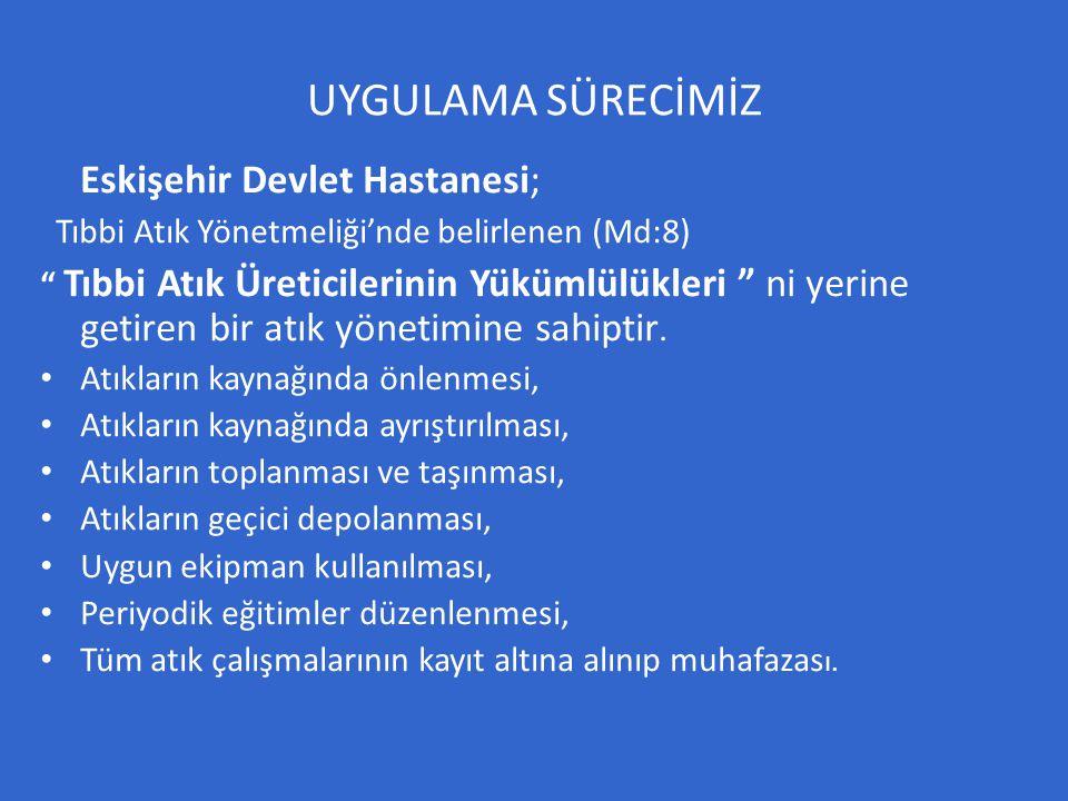 """UYGULAMA SÜRECİMİZ Eskişehir Devlet Hastanesi; Tıbbi Atık Yönetmeliği'nde belirlenen (Md:8) """" Tıbbi Atık Üreticilerinin Yükümlülükleri """" ni yerine get"""