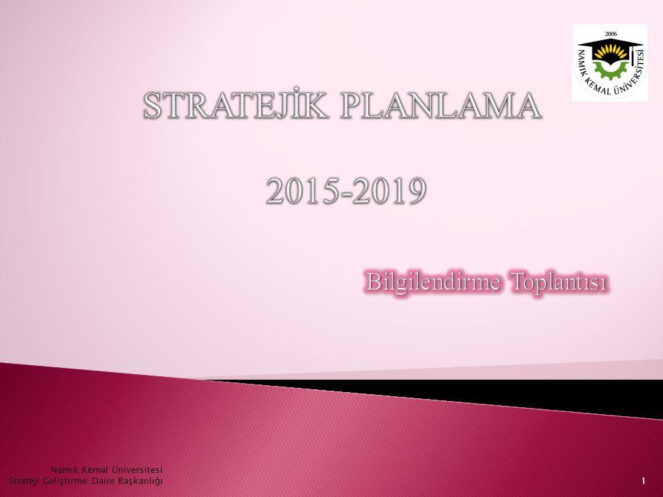1 Namık Kemal Üniversitesi Strateji Geliştirme Daire Başkanlığı