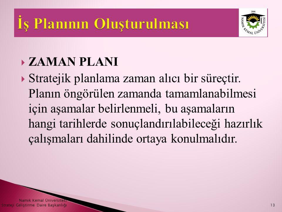  ZAMAN PLANI  Stratejik planlama zaman alıcı bir süreçtir. Planın öngörülen zamanda tamamlanabilmesi için aşamalar belirlenmeli, bu aşamaların hangi