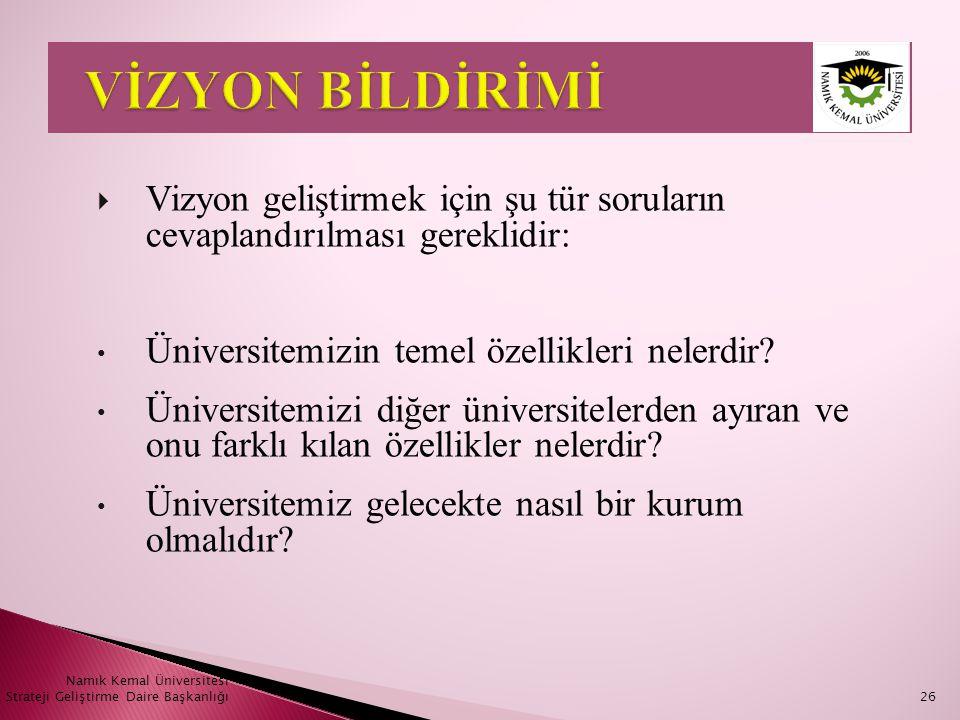 Namık Kemal Üniversitesi Strateji Geliştirme Daire Başkanlığı26  Vizyon geliştirmek için şu tür soruların cevaplandırılması gereklidir: • Üniversitem