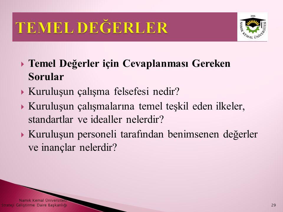 Namık Kemal Üniversitesi Strateji Geliştirme Daire Başkanlığı29  Temel Değerler için Cevaplanması Gereken Sorular  Kuruluşun çalışma felsefesi nedir