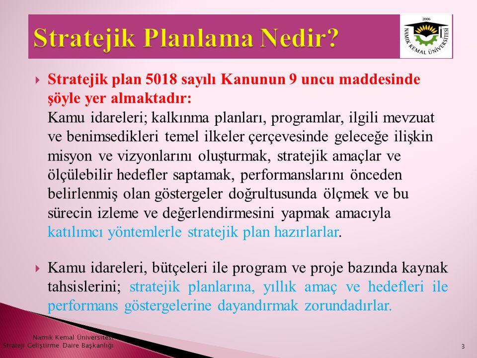  Stratejik plan 5018 sayılı Kanunun 9 uncu maddesinde şöyle yer almaktadır: Kamu idareleri; kalkınma planları, programlar, ilgili mevzuat ve benimsed