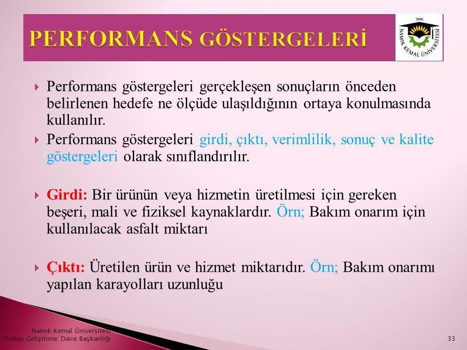  Performans göstergeleri gerçekleşen sonuçların önceden belirlenen hedefe ne ölçüde ulaşıldığının ortaya konulmasında kullanılır.  Performans göster