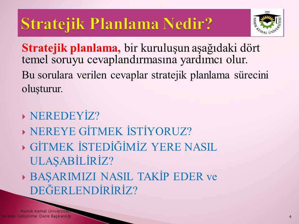 Namık Kemal Üniversitesi Strateji Geliştirme Daire Başkanlığı25  Vizyon; kuruluşun ideal geleceğini sembolize eder.