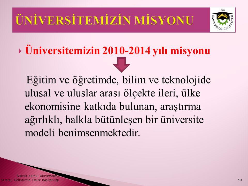  Üniversitemizin 2010-2014 yılı misyonu Eğitim ve öğretimde, bilim ve teknolojide ulusal ve uluslar arası ölçekte ileri, ülke ekonomisine katkıda bul