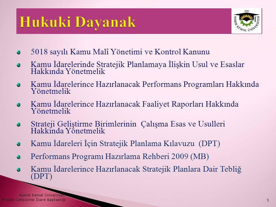 Namık Kemal Üniversitesi Strateji Geliştirme Daire Başkanlığı26  Vizyon geliştirmek için şu tür soruların cevaplandırılması gereklidir: • Üniversitemizin temel özellikleri nelerdir.