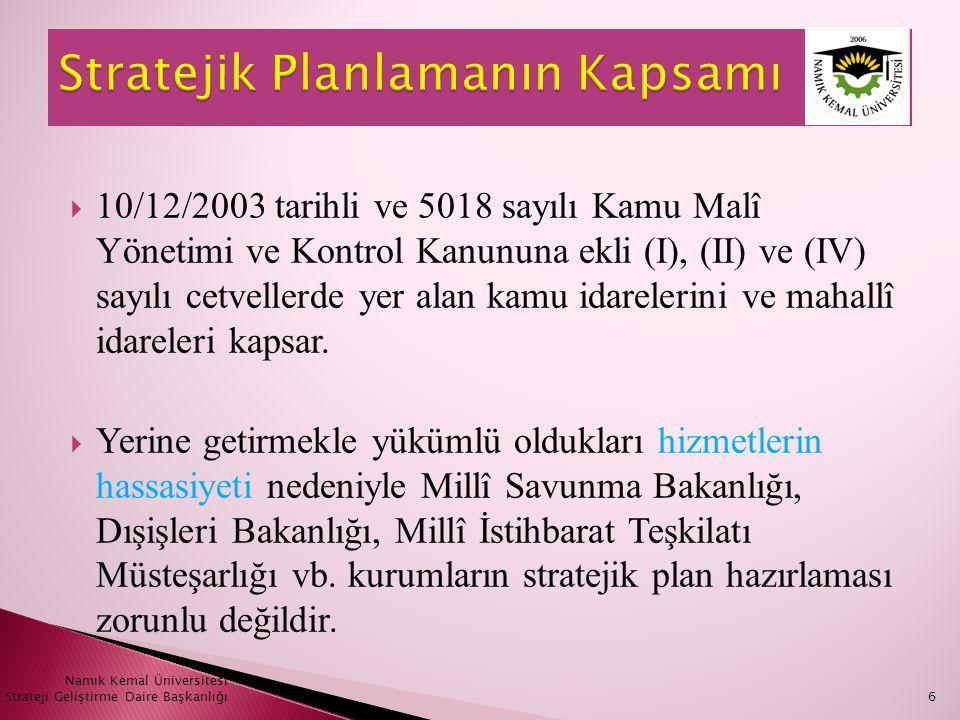  10/12/2003 tarihli ve 5018 sayılı Kamu Malî Yönetimi ve Kontrol Kanununa ekli (I), (II) ve (IV) sayılı cetvellerde yer alan kamu idarelerini ve maha