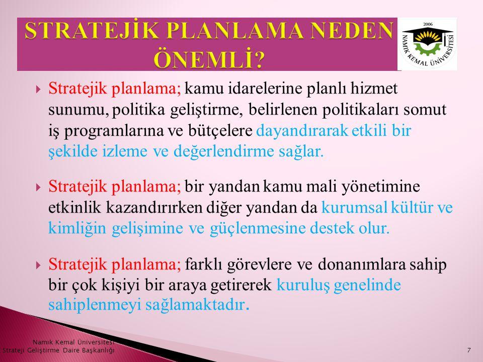  Planlama çalışmalarının sahiplenilmesinin sağlanması  Organizasyon oluşturulması  İhtiyaçların tespit edilmesi  İş planının oluşturulması  Stratejik planlama sürecine dahil olacak kişiler ve görevleri (yada Birimler) Namık Kemal Üniversitesi Strateji Geliştirme Daire Başkanlığı8