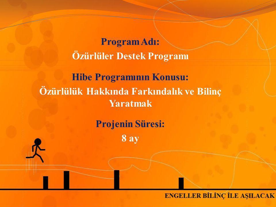 Program Adı: Özürlüler Destek Programı Hibe Programının Konusu: Özürlülük Hakkında Farkındalık ve Bilinç Yaratmak Projenin Süresi: 8 ay